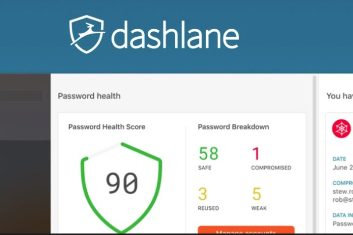 dashlane password manager showing password health