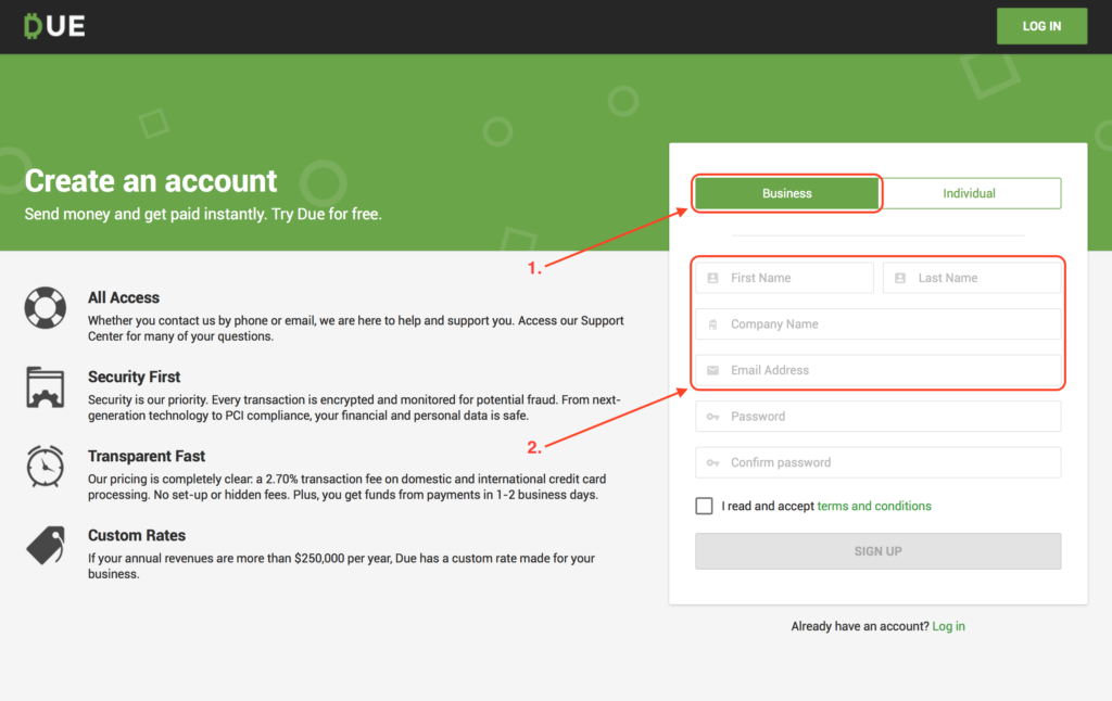 How to Signup and use Due Invoicing