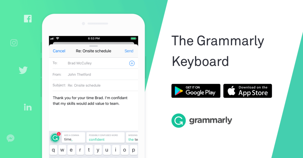 automatically checks your  grammar work as you compose, correcting
