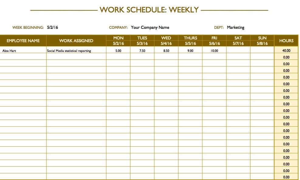 online marketing schedule